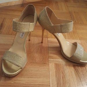 Jimmy Choo Alana gold lame stilettos